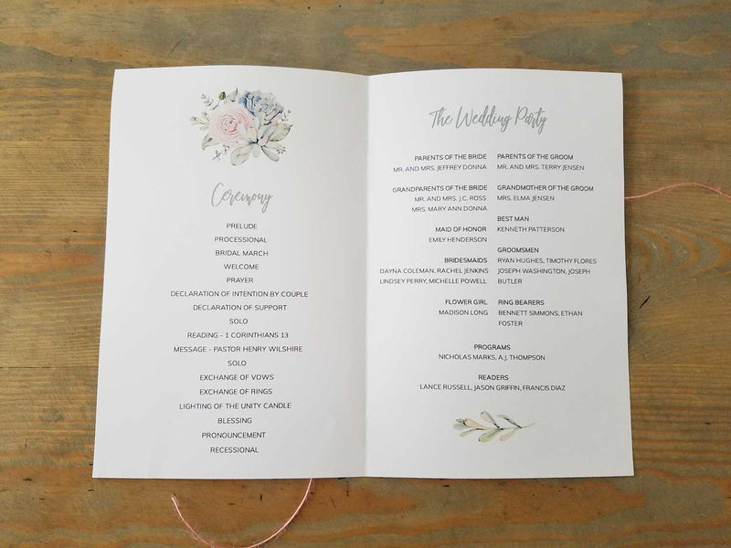 Succulent Watercolor Bouquet Wedding Program Booklet