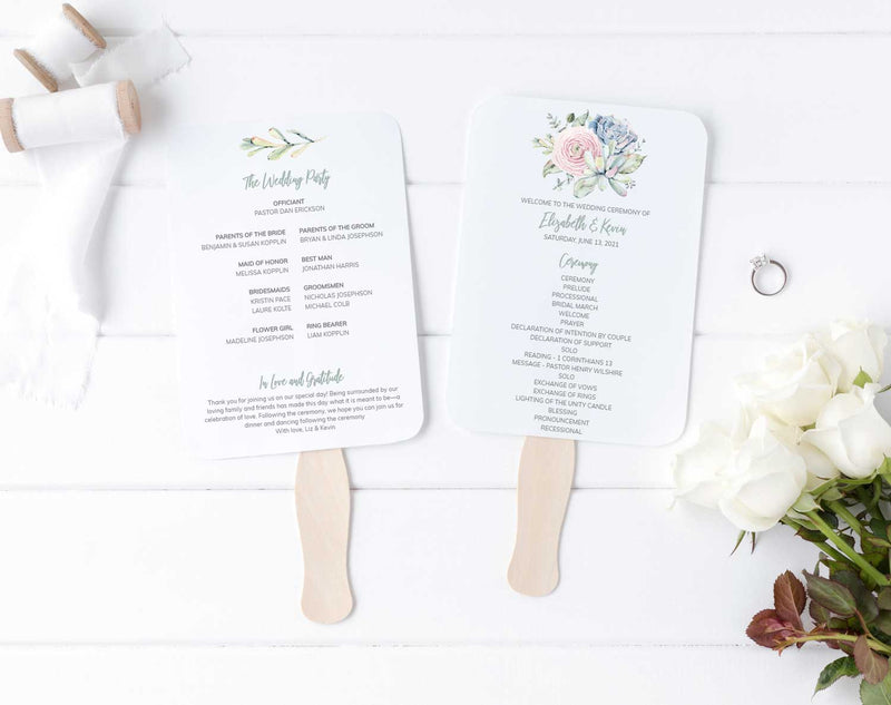 Cool Succulents Wedding Program Fan