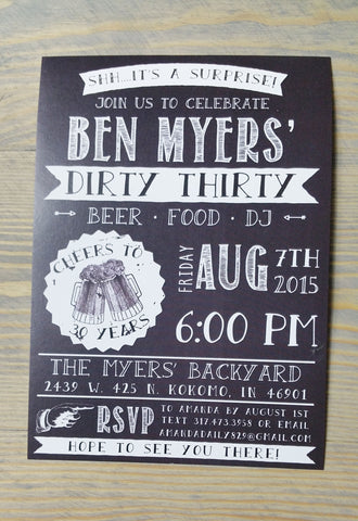 Dirty 30 Birthday Party Invitation