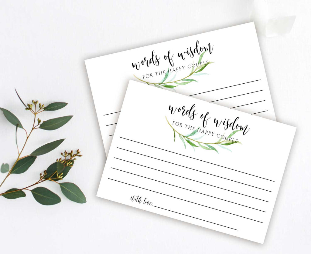 Tender Greenery Advice or Words of Wisdom Card for Newlyweds, Graduate or Customize