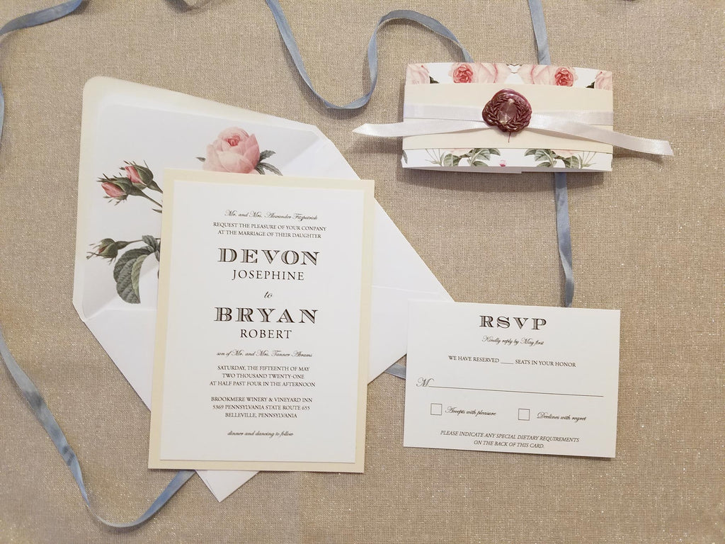 Blush Roses Wedding Invitation Suite