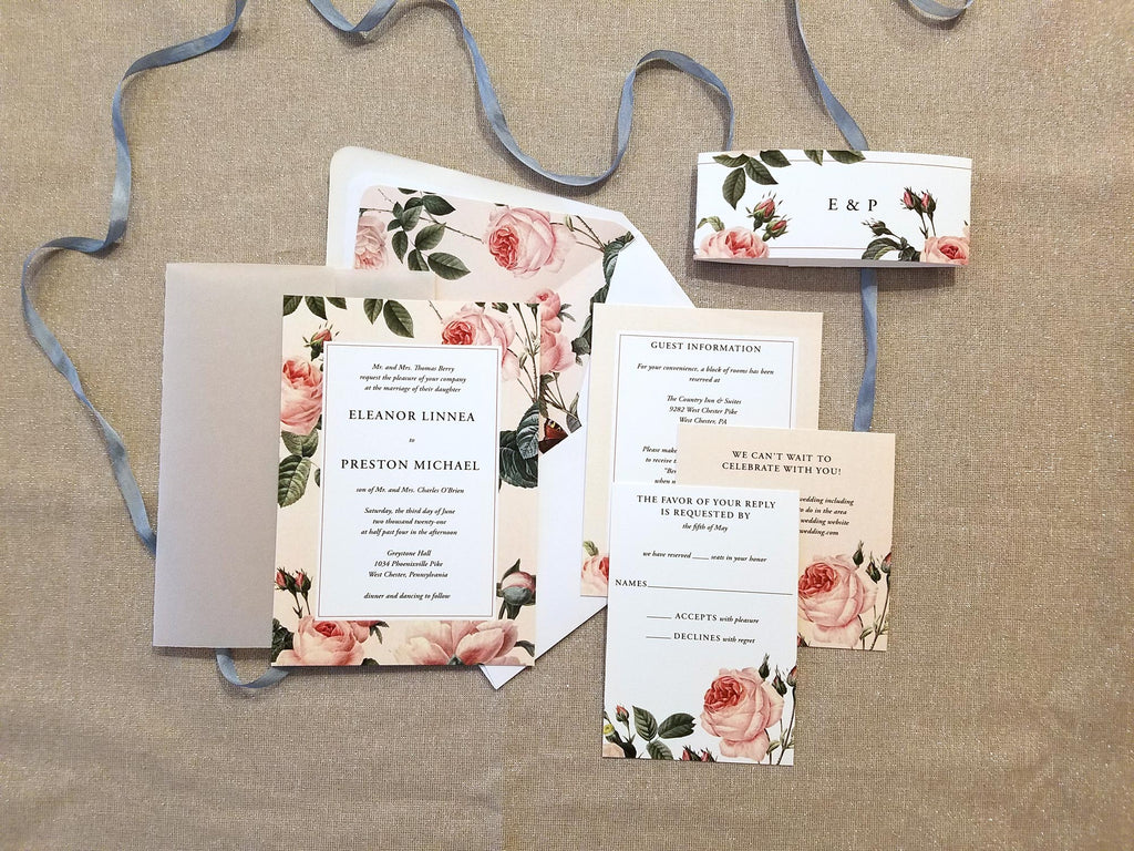 Antique Roses Vellum Wrap Wedding Invitation Suite
