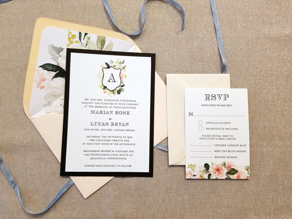 Blush Floral Monogram Crest Wedding Invitation Suite