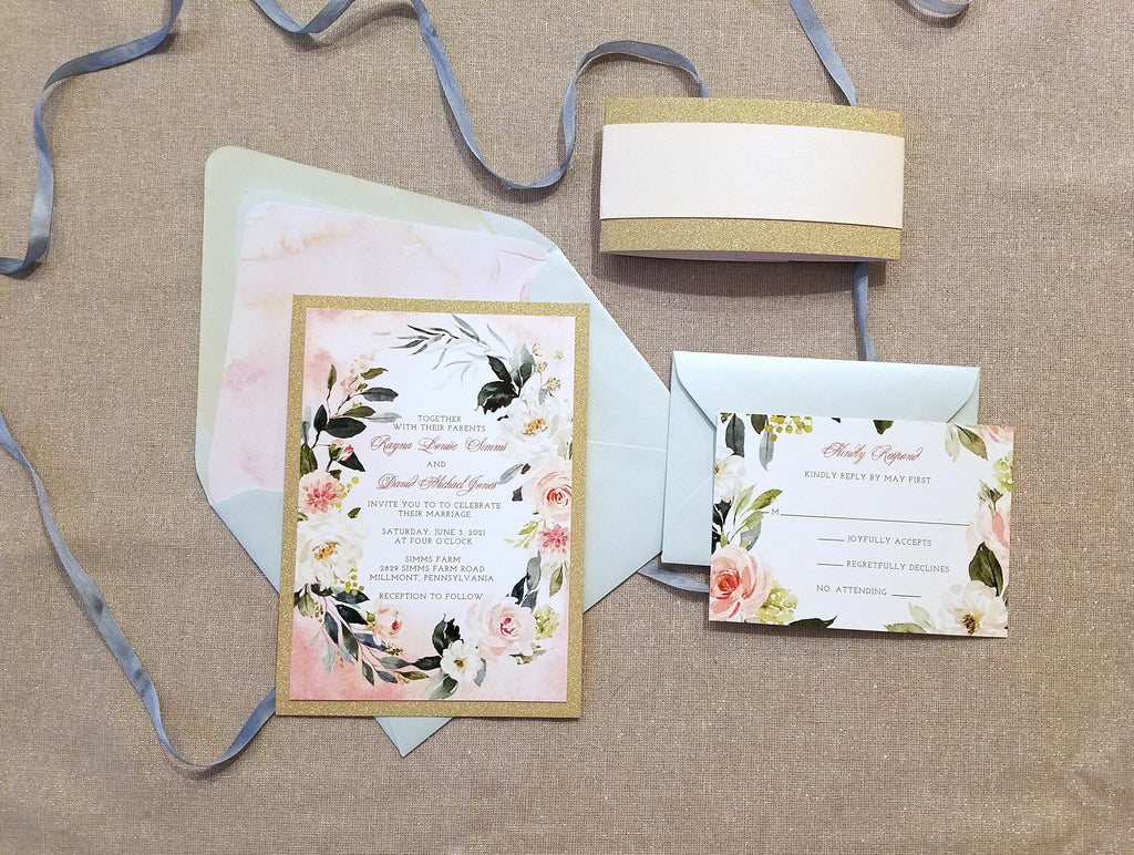 Blush and Mint with Gold Glitter Wedding Invitation Suite