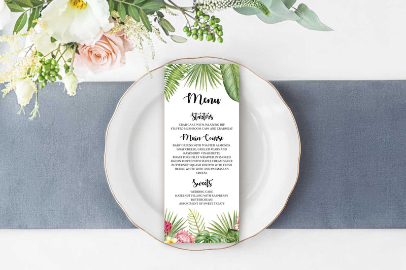 Tropical Wedding Menu Card