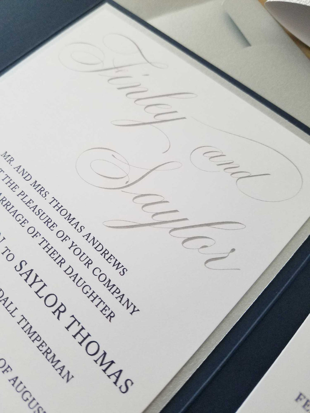 Navy Blue and Silver Laser Cut Pocketfold Wedding Invitation Suite