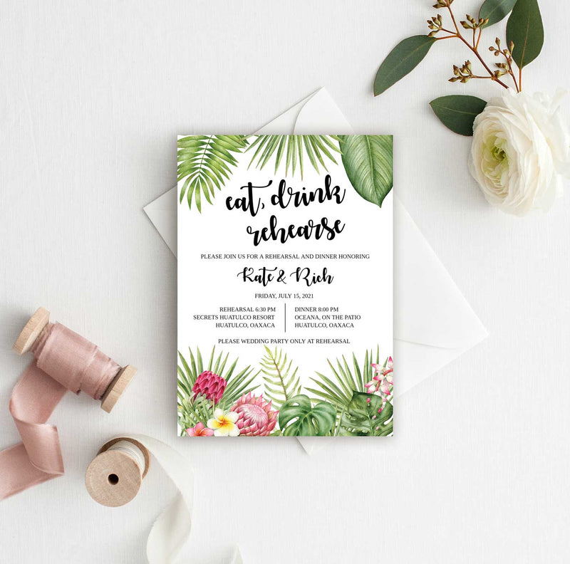 Tropical Themed Rehearsal Invitation