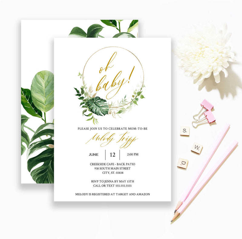 Tropical Greenery and Gold Baby Shower Invitation