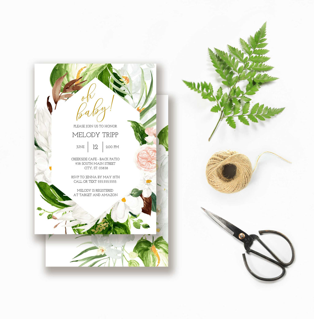 Tropical Greenery Geometric Baby Shower Invitation