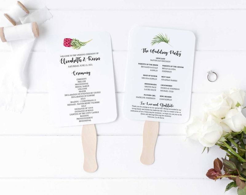 Tropical Wedding Program Fan
