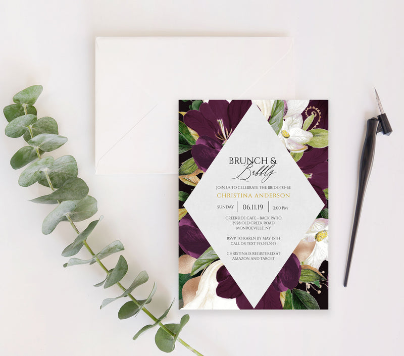 Eggplant Plum and Gold Diamond Bridal Shower Invitation