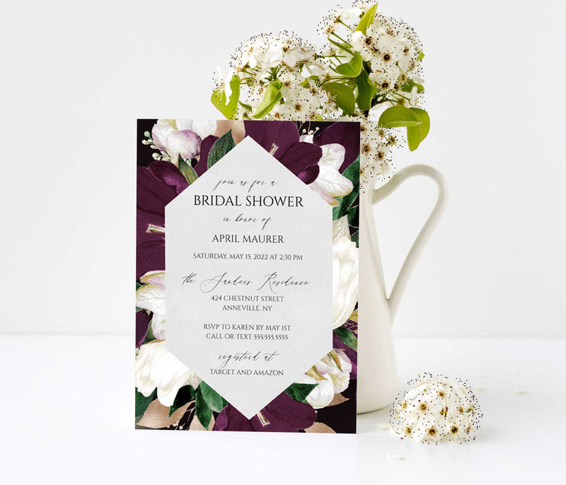 Eggplant Plum and Gold Geometric Bridal Shower Invitation