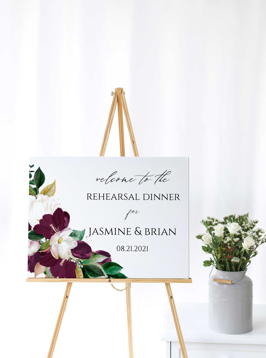 Eggplant Plum and Gold Wedding Rehearsal Welcome Sign