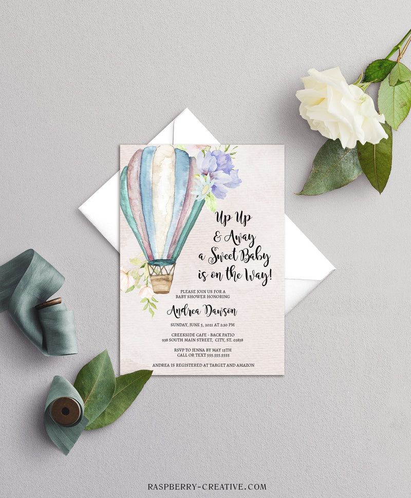 Up Up and Away Adventure Baby Shower Invitation