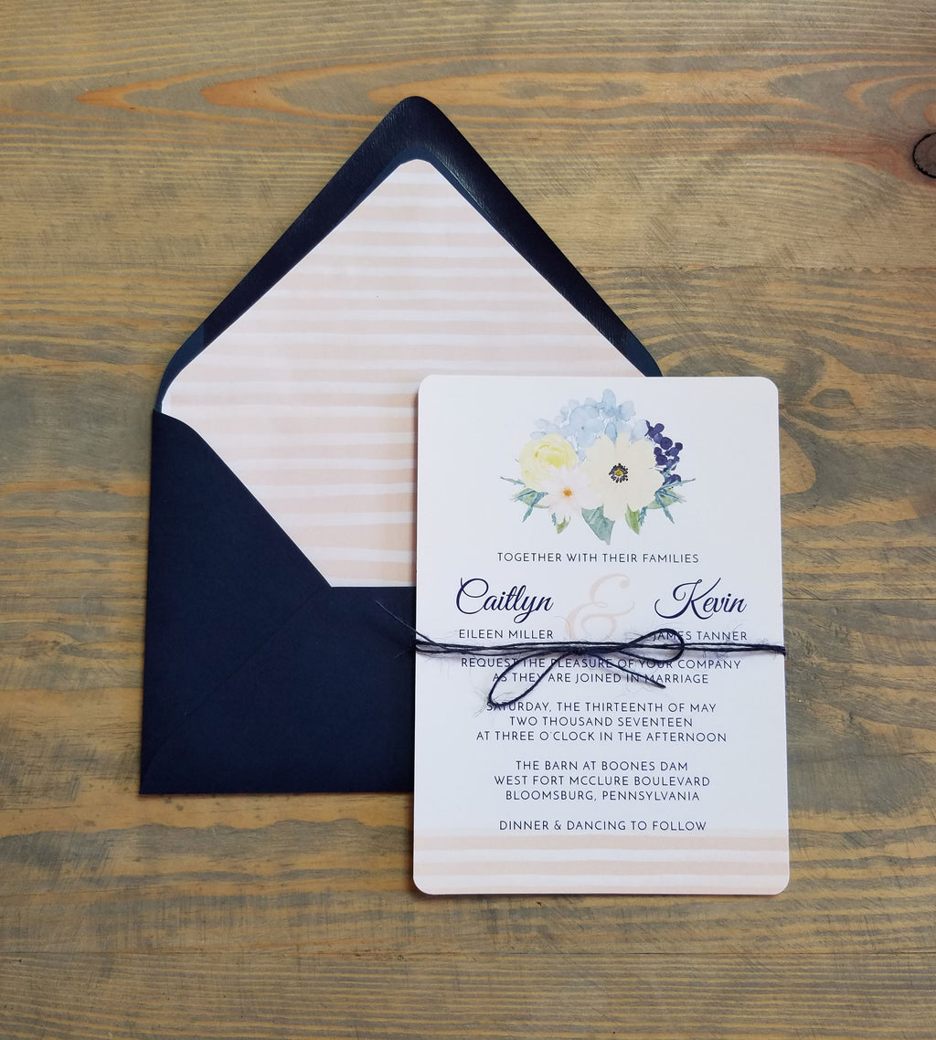Blush and Navy Watercolor Wedding Invitation