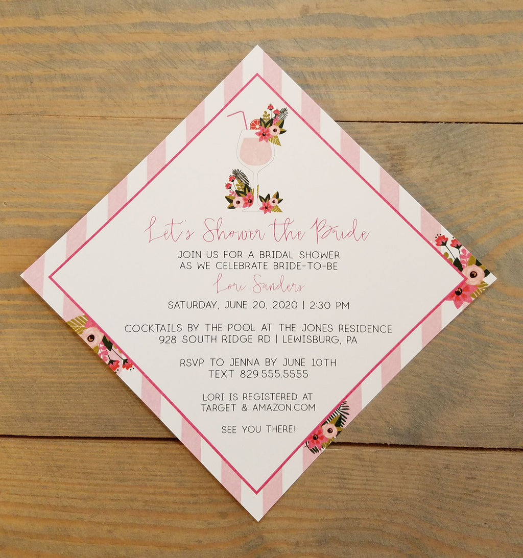 Watermelon Cocktail Bridal Shower Invitation