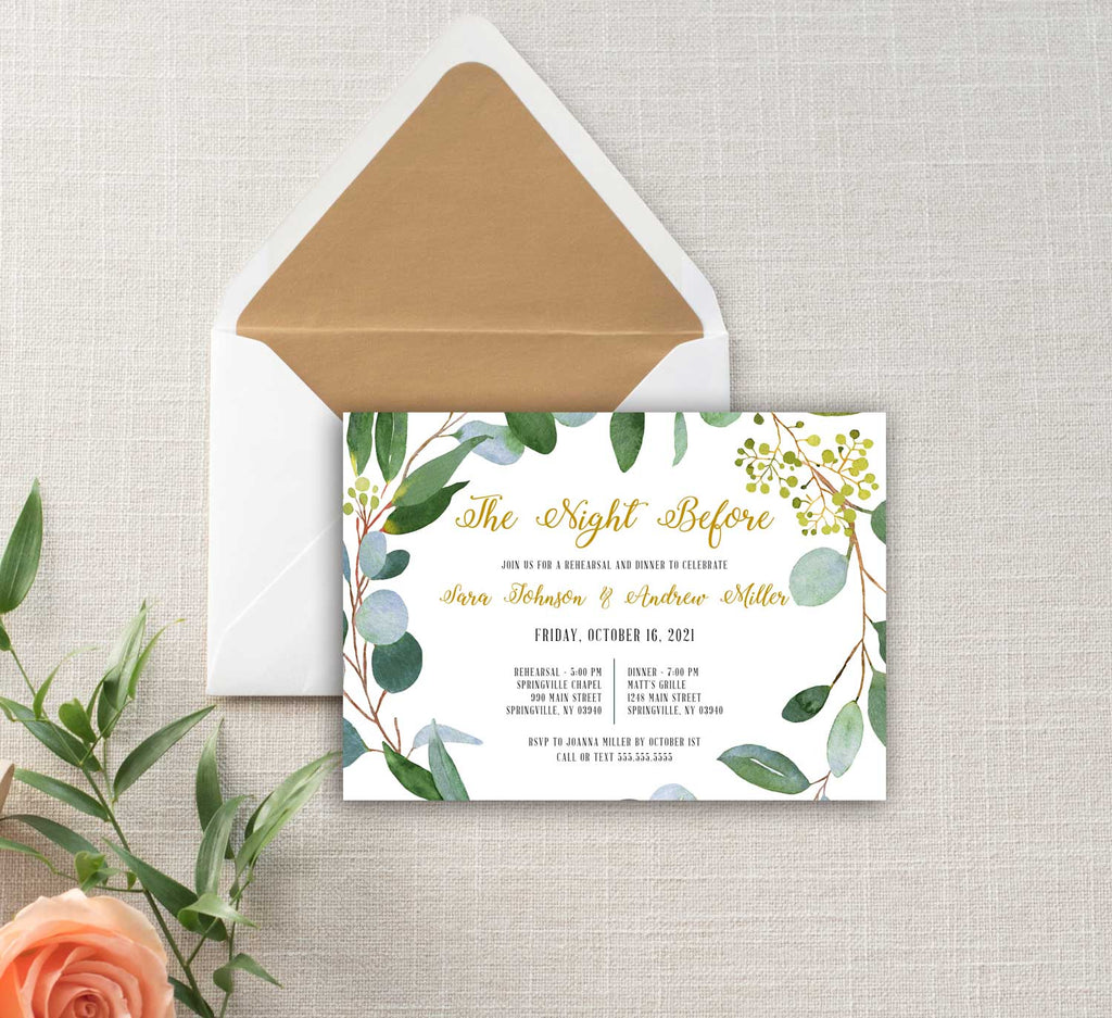 Greenery and Gold Rehearsal Dinner Invitation