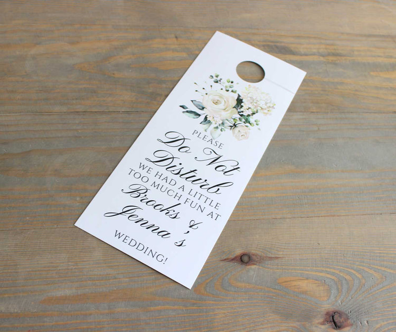 White Roses Do Not Disturb Door Hanger