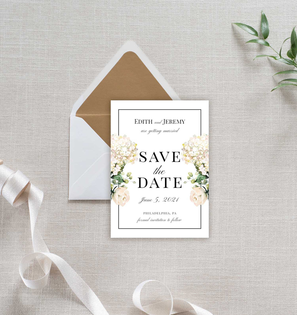 White Ivory Rose Save the Date Card