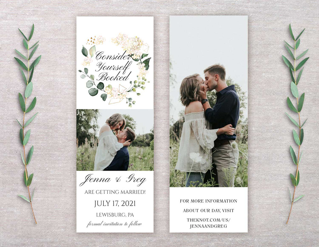 White Floral Wreath Save the Date Bookmark