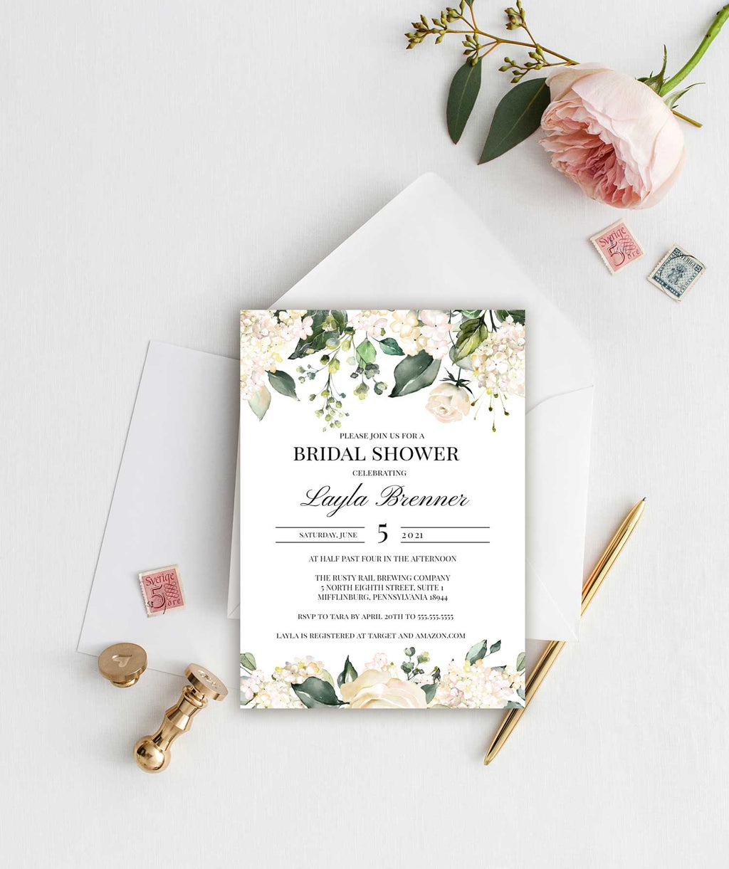 Ivory and White Roses Bridal Shower Invitation