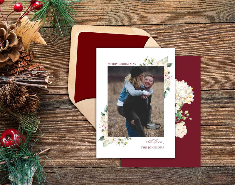 White Roses Photo Christmas Card