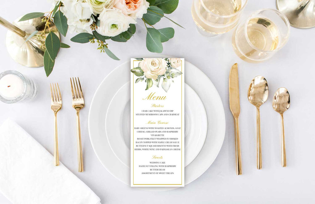 White Roses Wedding Menu Card
