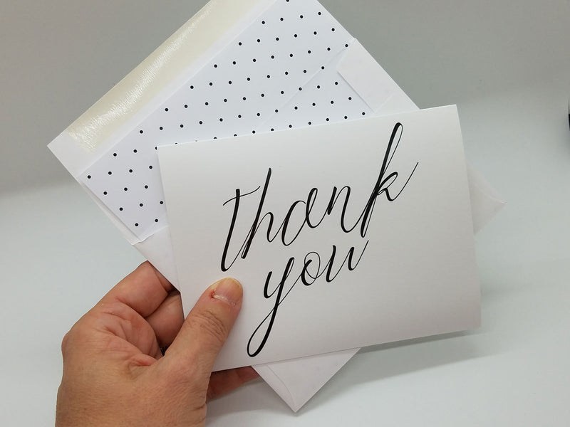 White Simple Script Thank You Card