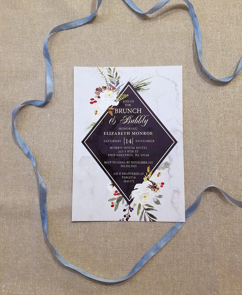 Winter Brunch & Bubbly Bridal Shower Invitation