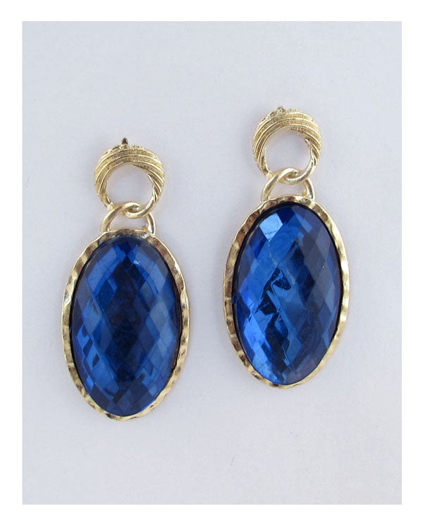 Faux crystal oval drop earrings