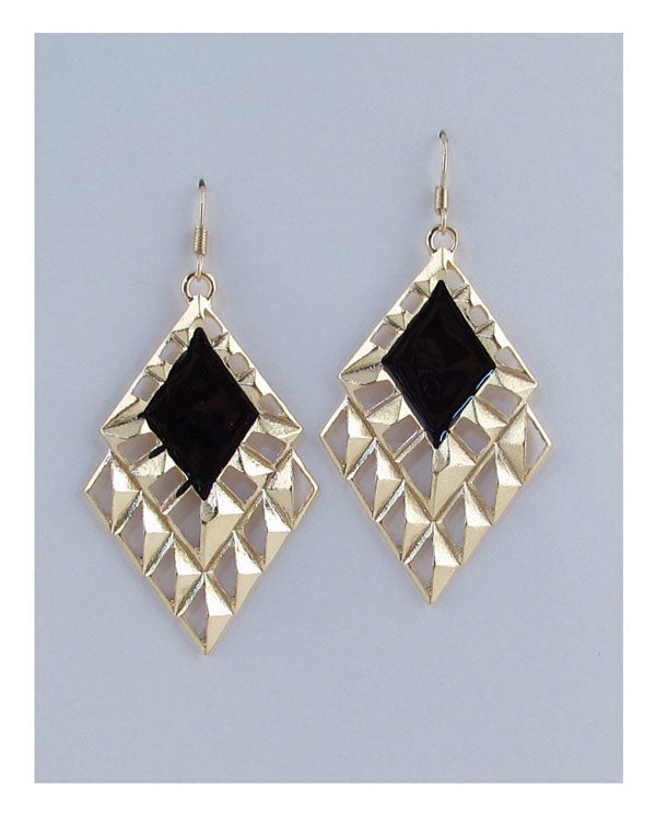 Drop colored triangle earrings