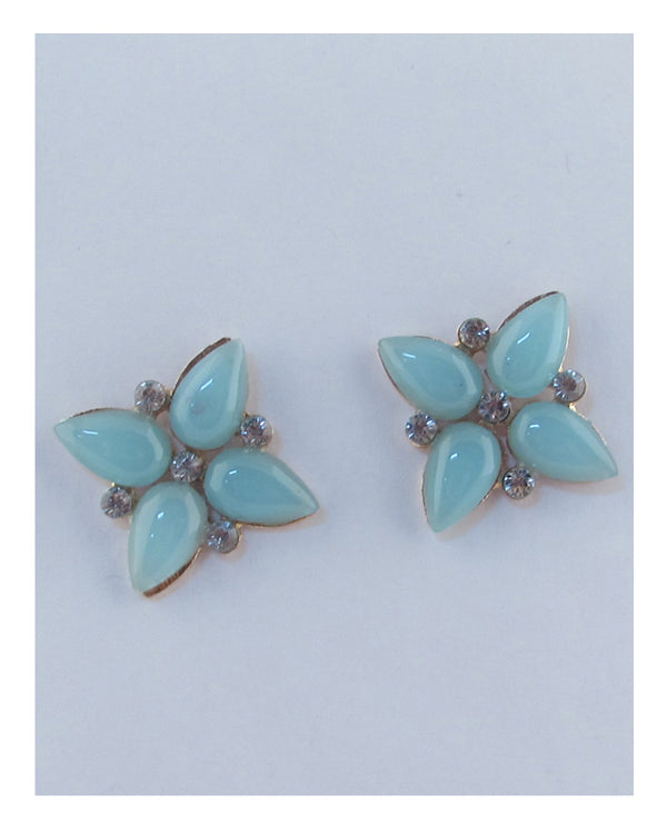 Flower shape faux stone earrings