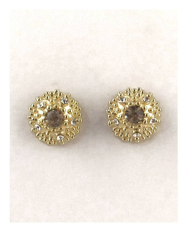 Round rhinestone cluster post earrings