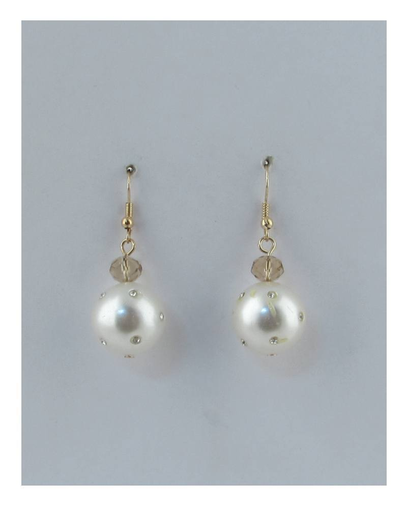 Rhinestone pearl drop dangle earrings