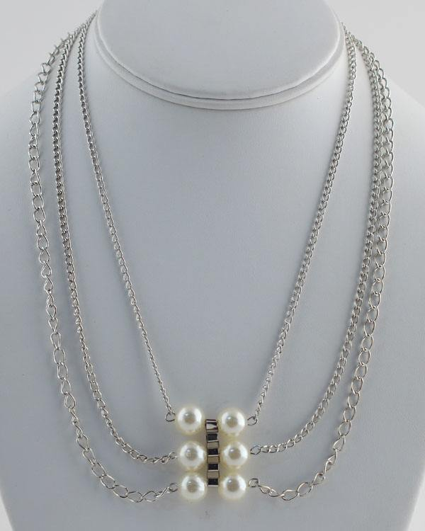 Layered Faux Pearl Chain Necklace