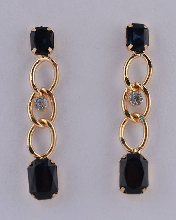Faux Gemstone Curb Link Rhinestone Dangle Earrings