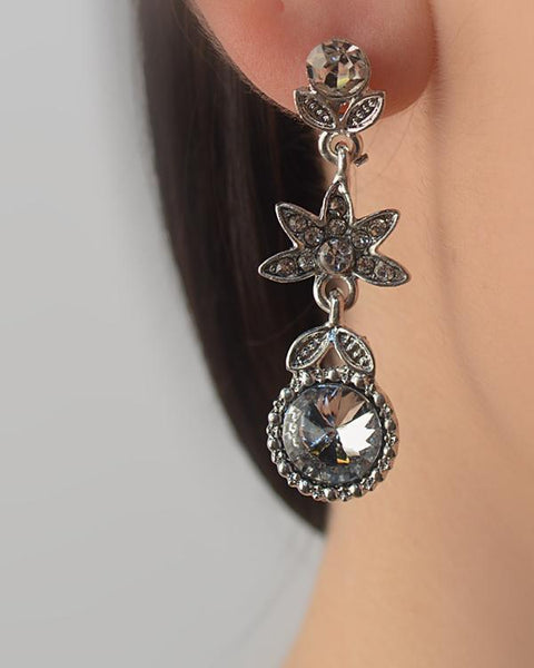 Crystal Textured Leaf Drop Earring