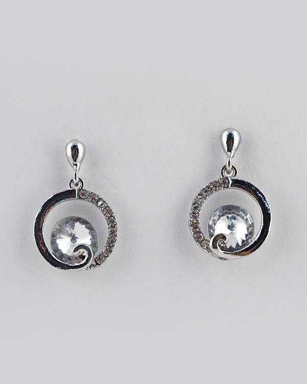 Semi Crystal Studded Circle Drop Earring with Crystal Accent