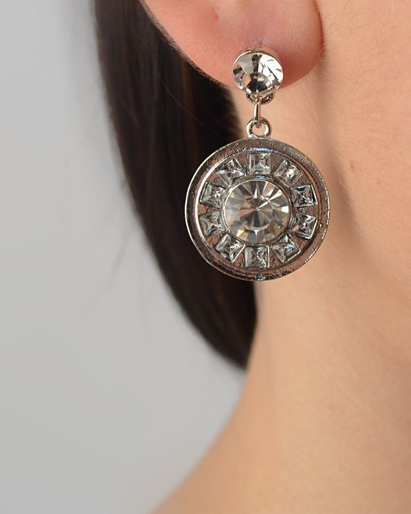 Crystal Studded Circle Drop Earring