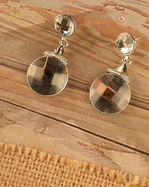 Round Crystal Drop Earrings