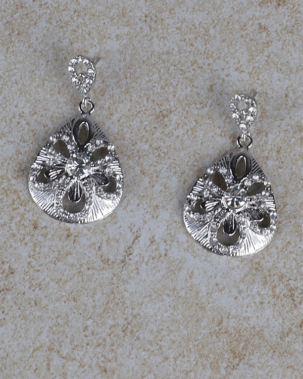Drop Shaped Floral Metallic Dangle Earrings
