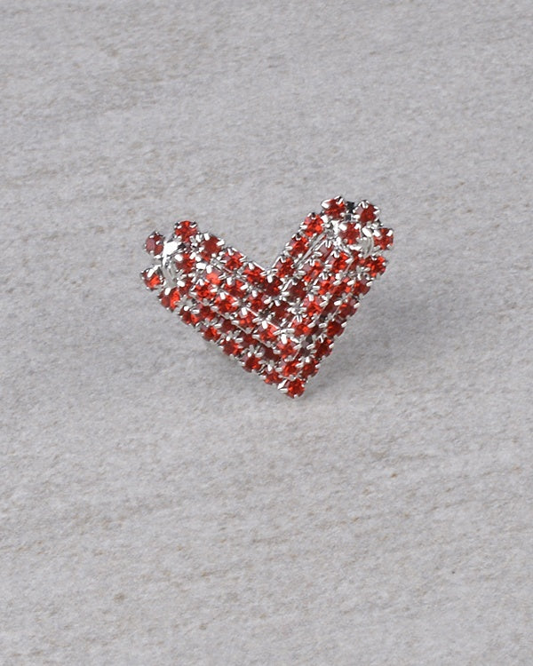 Heart Shaped Rhinestone Studded Ring