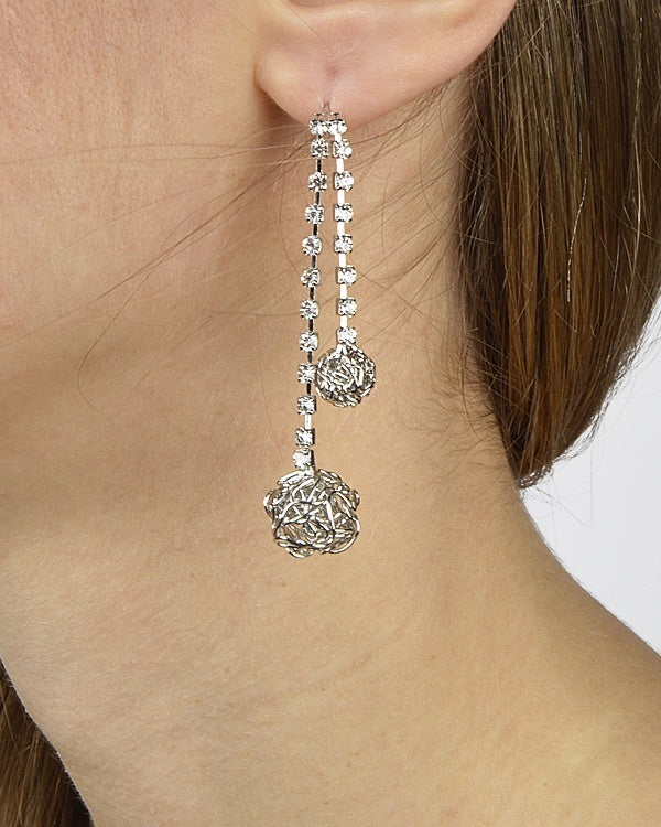 Two Strand Crystal Wired Ball Dangle Earring