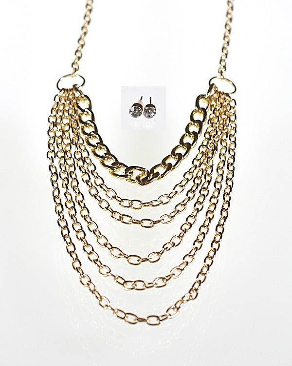 Multiple Strand Rolo Chain Necklace