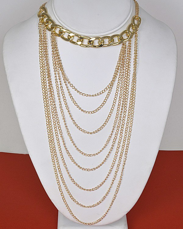 Multi Link Chain with Multiple Layer Necklace