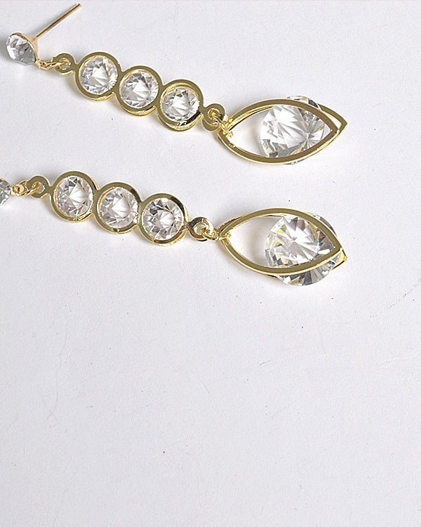Crystal Studded Long Drop Earrings