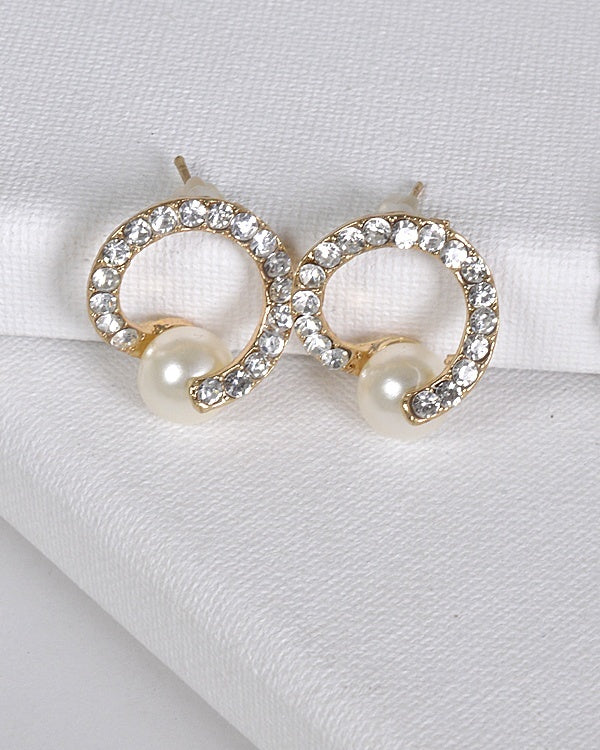Faux Pearl Crystal Spiral Studs