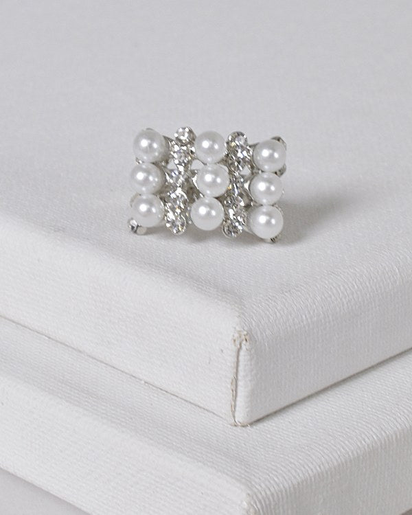 Faux Pearl and Stone Studded Adjustable Ring id.31462