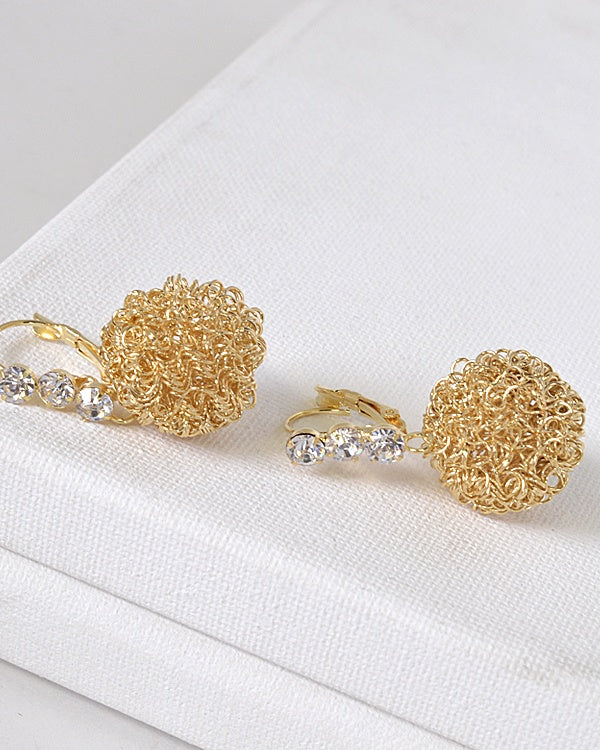 Crystal Studded Metallic Ball Drop Earrings id.31572