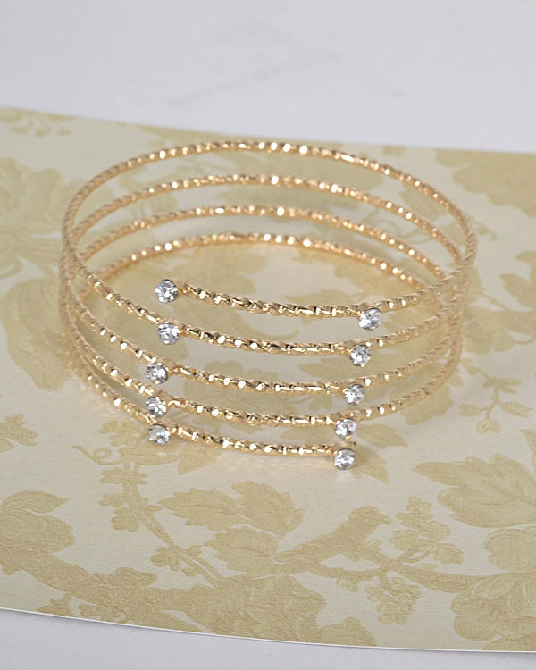 Layered Stone and Crystal Studded Metallic Bracelet